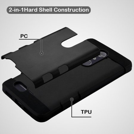 ZTE Grand X Max 2 case, ZTE Zmax Pro phone case, ZTE ZMAX 2 case, by Insten Shock Absorbing TUFF Trooper Hybrid PC/TPU Case For ZTE Grand X Max 2/Imperial Max/Kirk/Max Duo 4G/ZMAX 2/Zmax Pro - Black - image 4 de 5
