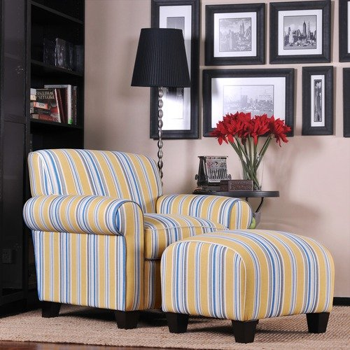 Handy Living Winnetka Cotton Chair and Ottoman