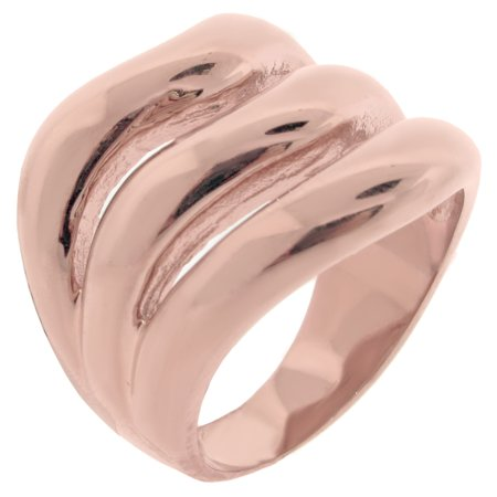 Metro Jewelry Stainless Steel Ring with Rose Ion Plating