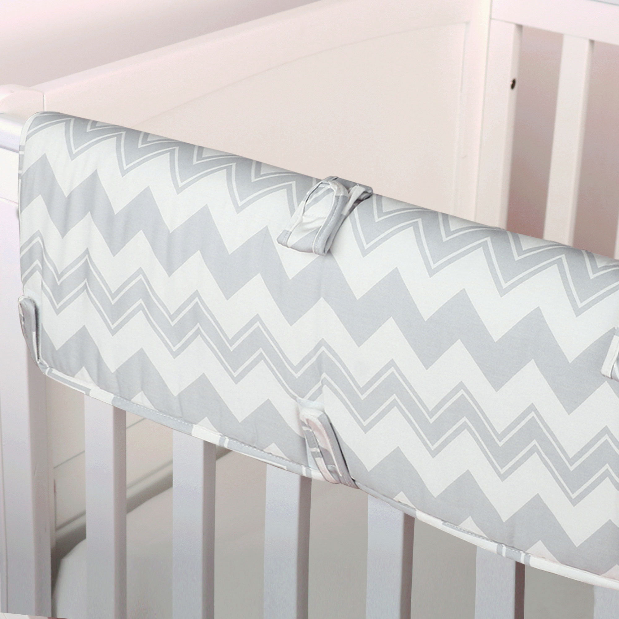 The Peanut Shell Baby Crib Rail Guard - Grey Zig Zag Chevron Print - 100% Cotton Sateen Cover, Polyester Fill