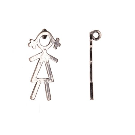 Plated Brass Figure - Drops/Charms, Girl Stick Figure Antique-Silver Plated 13x1mm Sold per pkg of 6pcs
