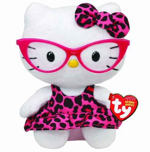 Ty Beanie Baby Hello Kitty Plush -Pink Leopard Nerd with Glasses by TY Inc