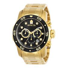 Men's 0072 Pro Diver Collection Chronograph 18k Gold-Plated Watch 18k Yellow Gold Chronograph Watch