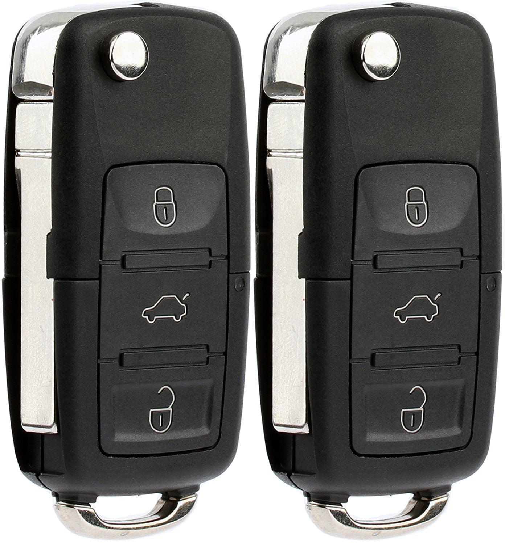 2 PACK KeylessOption Keyless Entry Remote Control Car Flip Key Fob Replacement HLO1J0959753AM, HLO1J0959753DC for 2002-2009 VW Volkswagen Beetle Golf Jetta Passat