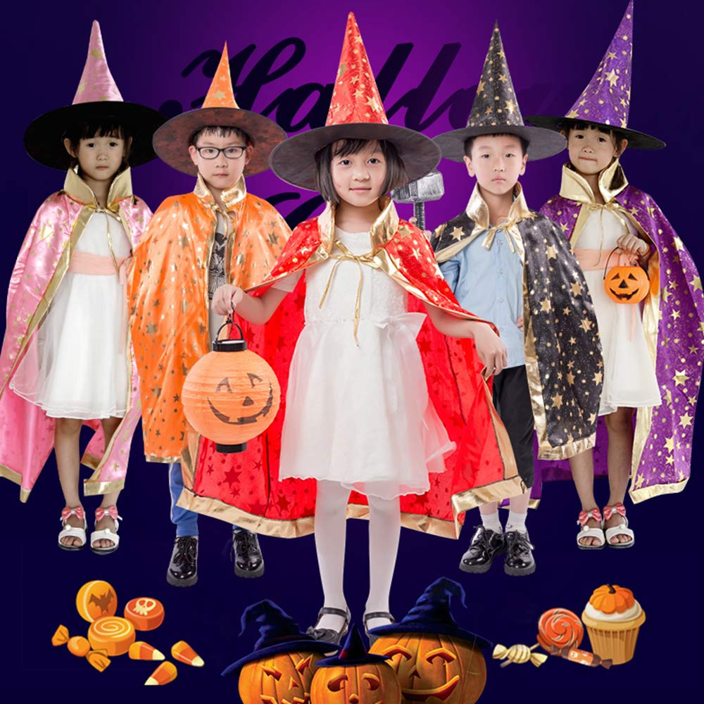 Voberry® Halloween Costume Childrens' Halloween Costume Wizard Witch Cloak Cape Robe and Hat for Boy Girl