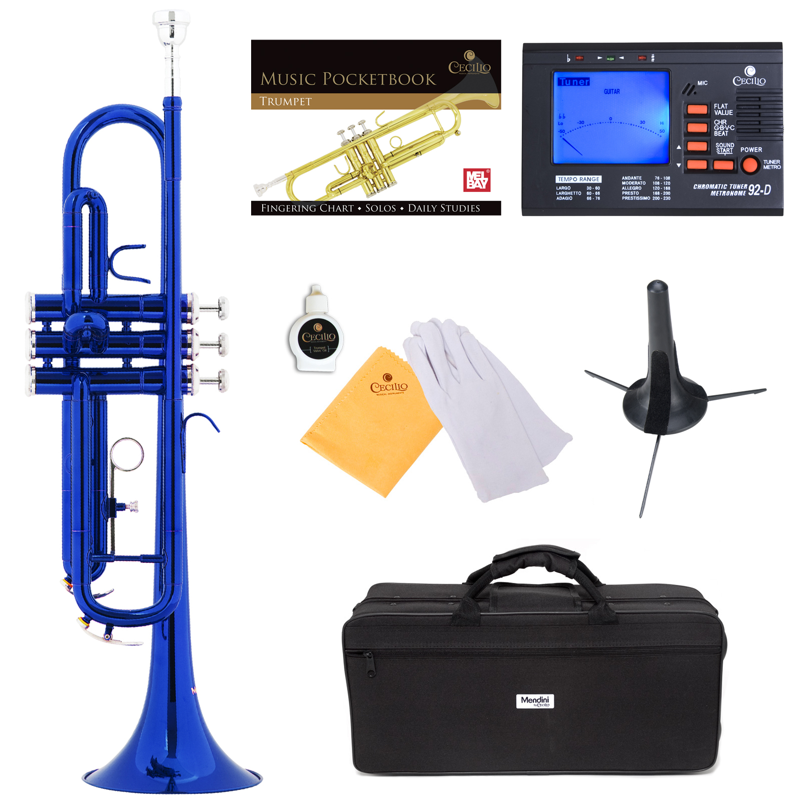 Mendini by Cecilio Bb Trumpet w/Tuner, Stand, Pocketbook, Deluxe Case and 1 Year Warranty, Blue Lacquer MTT-BL+SD+PB+92D