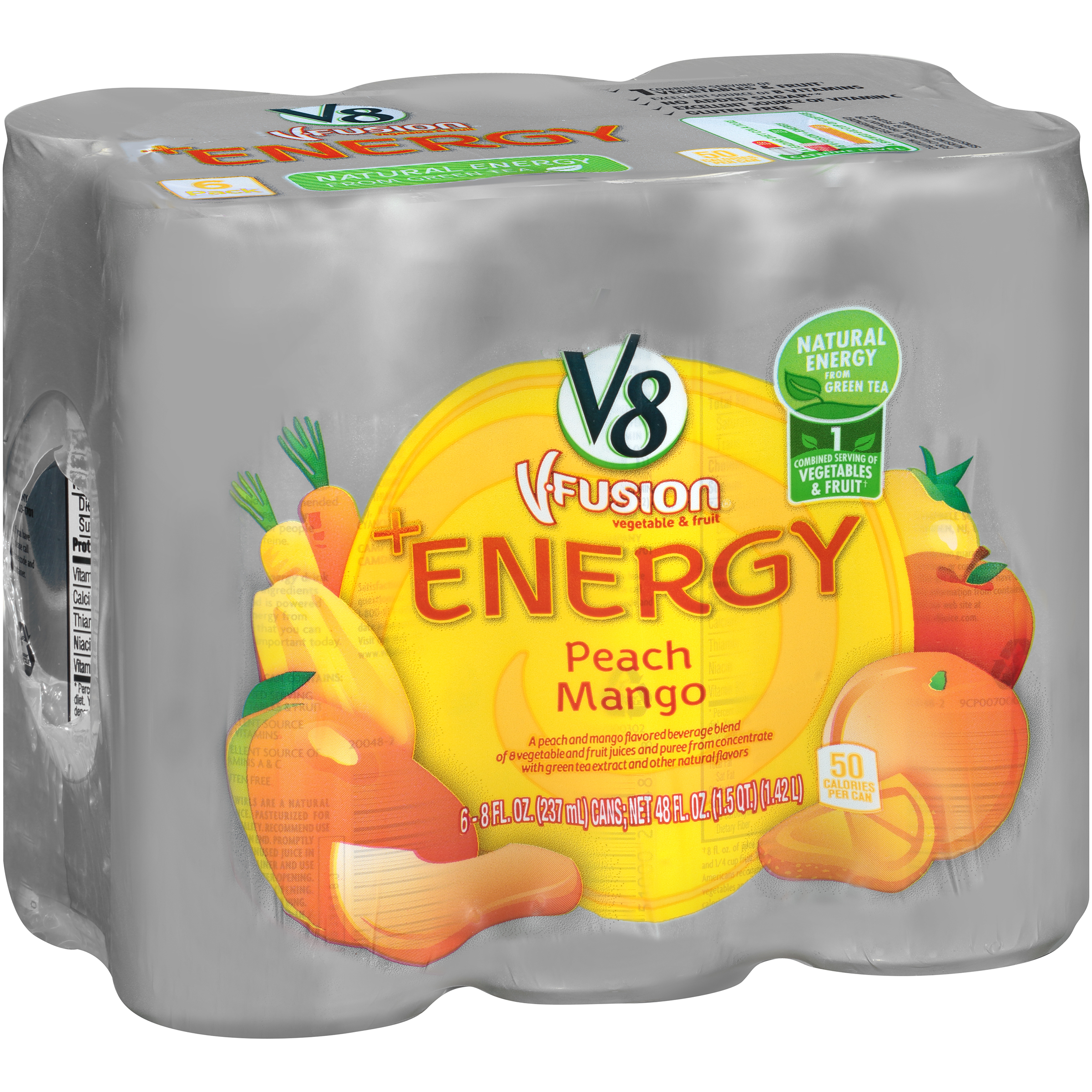 V8 V-Fusion +Energy Peach Mango Juice 8oz 6 pack