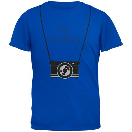On Vacation Hanging Camera Blue Adult T Shirt