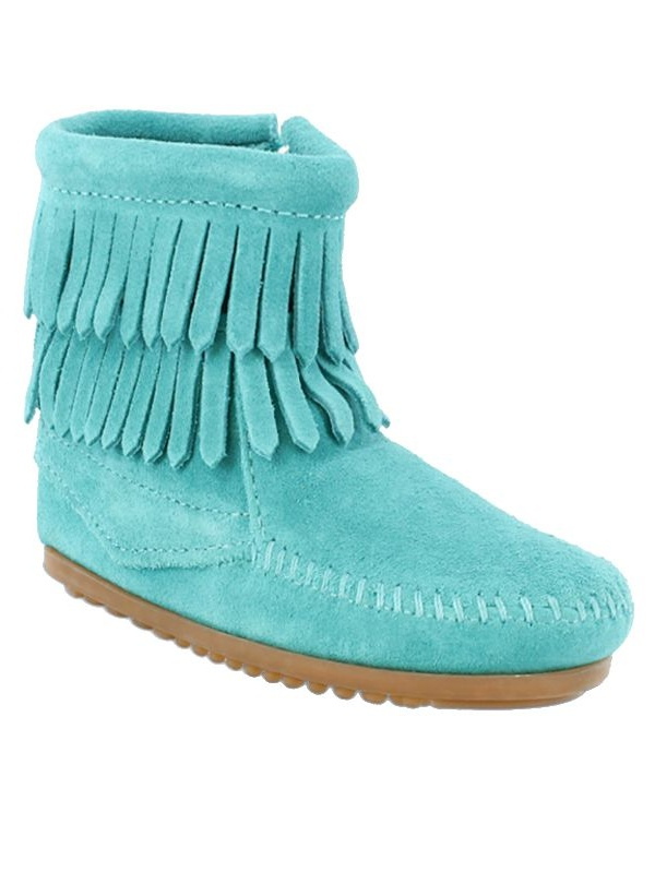 Minnetonka Boys Kid s Double Fringe Size Zip Turquoise Boots by MINNETONKA