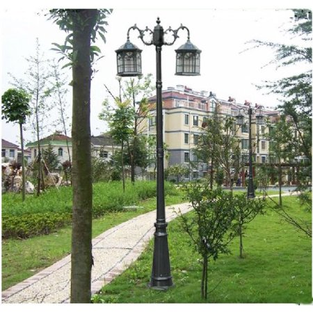 Kendal 8 foot high outdoor solar lamp post with two heads and LED Lights black