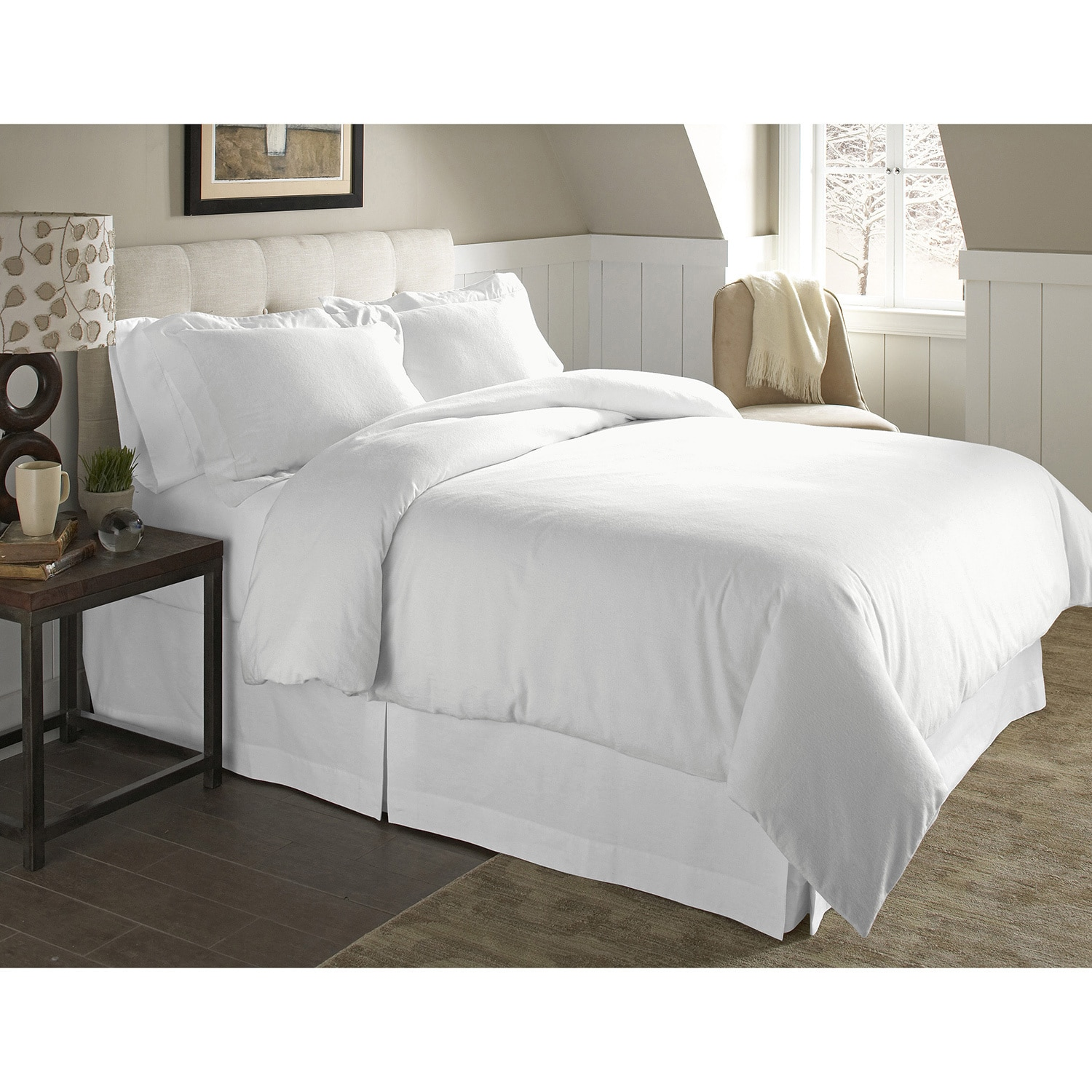 Pointehaven 200 GSM Superior Flannel Solid color Duvet Set