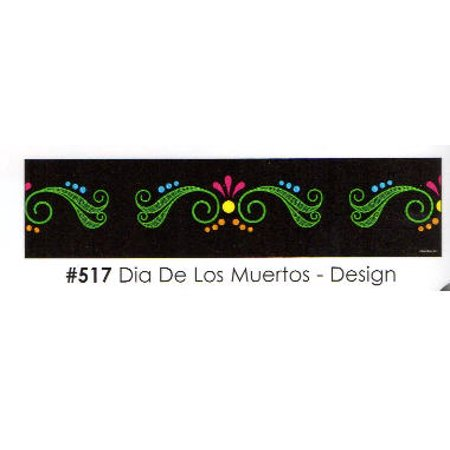 Dia De Los Muertos - Design 3 Strips Edible Frosting Photo Cake Border - Decoration De L'halloween
