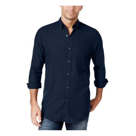 John Ashford Men's Flannel Long Sleeve Herringbone Shirt (Small, Navy