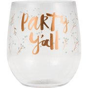 """Pack of 6 White """"Party Yall"""" Printed Stemless Reusable 14 oz Wine Glasses 3.9"""""""