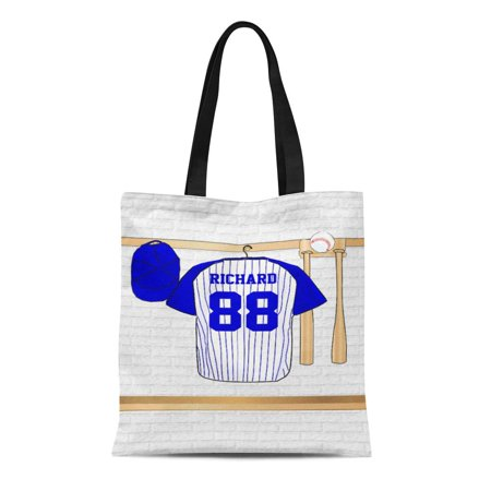 KDAGR Canvas Tote Bag Ball Personalized Blue and Baseball Jersey Player Team Softball Reusable Handbag Shoulder Grocery Shopping Bags
