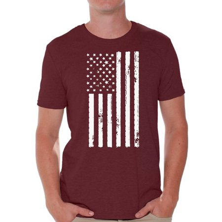 Awkward Styles Big White American Flag Men Shirt USA Pride 4th of July Men T shirt 4th of July Party USA Tshirt for Men Patriotic Gifts 4th of July Men T-shirt Stripes and