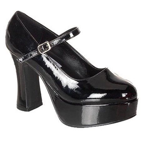 735b057aef8 Women s Shiny Black Mary Janes High Heel Shoes Gothic Costume Accessory  SM-LG - image ...