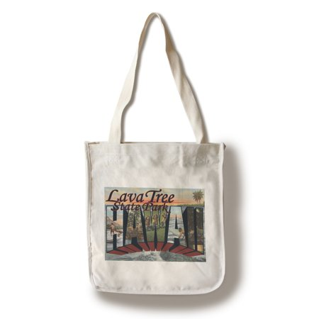 Lava Tree State Park, Hawaii - Large Letter Scenes (100% Cotton Tote Bag - Reusable) Postcard State Large Letter