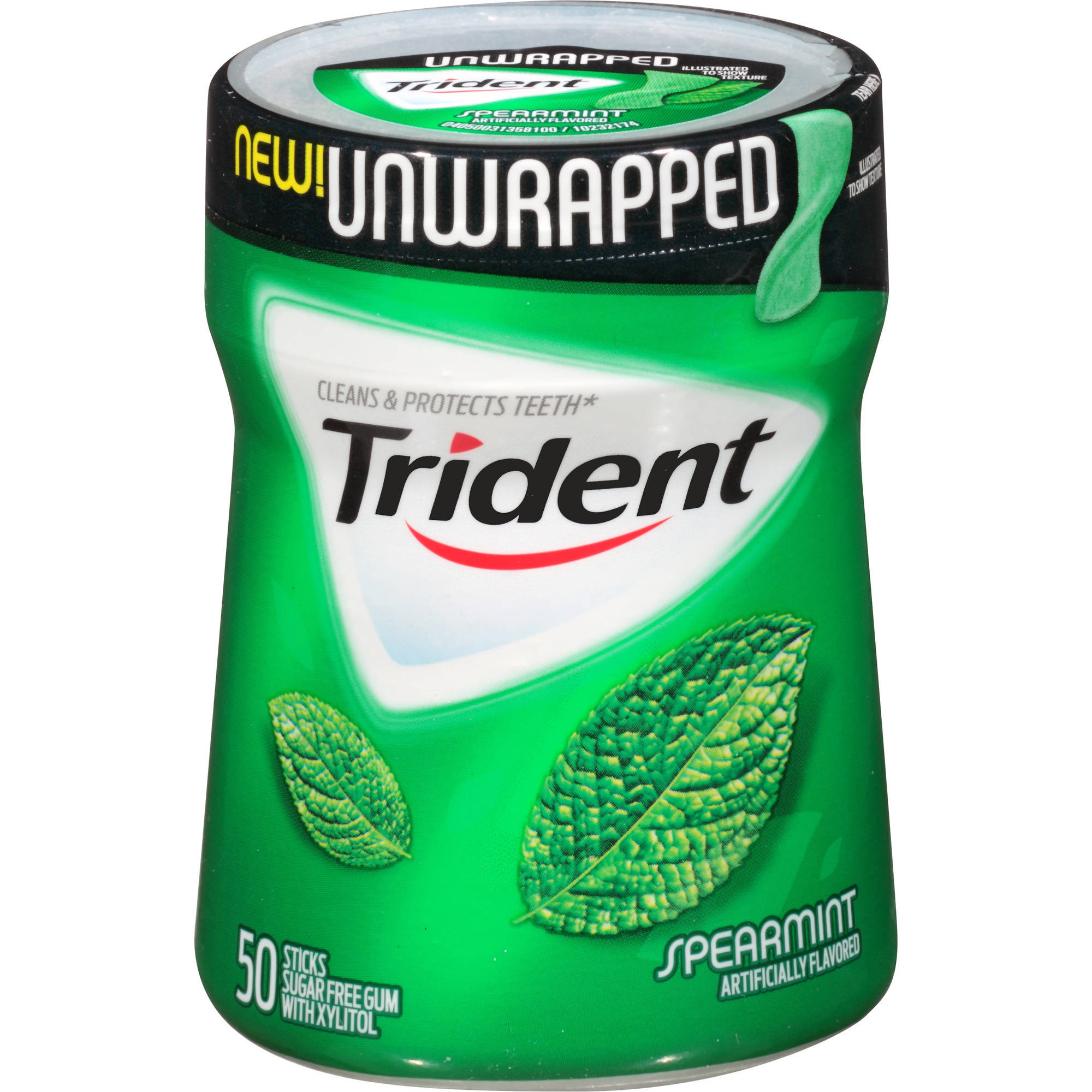 Trident Unwrapped Spearmint Sugar Free Gum with Xylitol, 50 pc