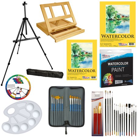 69pc Deluxe Watercolor Paint Set with Table & Field Easel Paint Pads Brushes (Easel Brush)