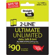 Straight Talk $90 ULTIMATE UNLIMITED 2-line 30-Day Plan plus 10GB Hotspot Data per line e-PIN Top Up (Email Delivery)