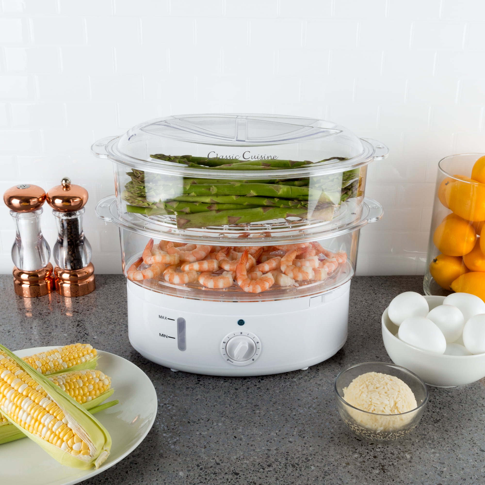 Vegetable Steamer Rice Cooker 63 Quart Electric Steam Appliance With Timer For Healthy Fish Eggs Vegetables Rice Baby Food By Classic Cuisine