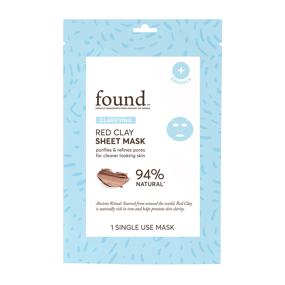 FOUND CLARIFYING Red Clay Sheet Mask, 1 Single Use Mask