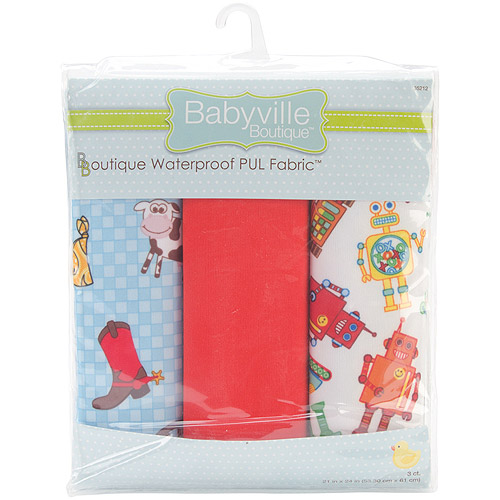 "Babyville Waterproof Diaper Fabric, 21"" x 24"" Cuts, 3/pkg"