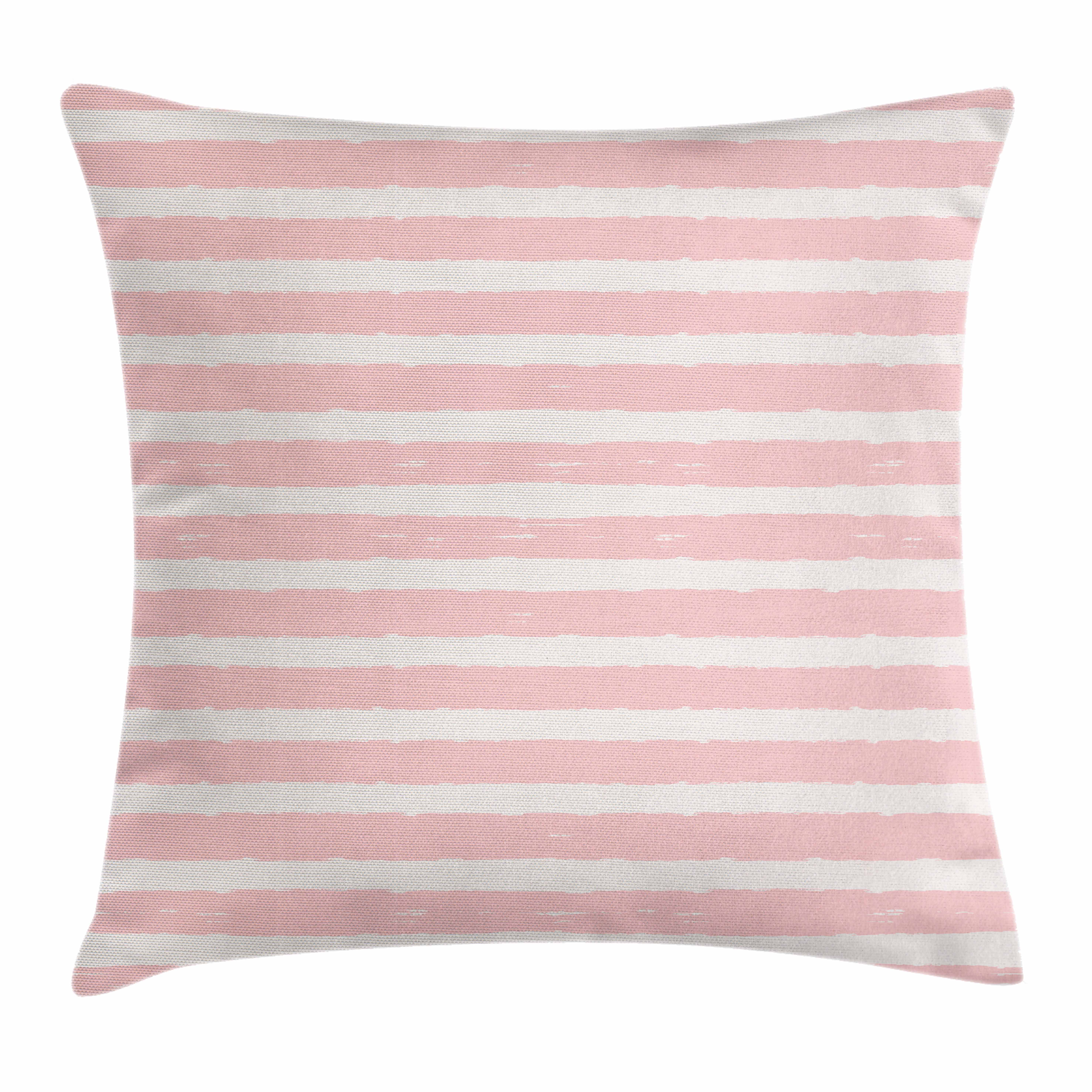Kids Throw Pillow Cushion Cover, Paint Brushstrokes in Horizontal Direction Pastel Color Pattern for Girls Kids, Decorative Square Accent Pillow Case, 18 X 18 Inches, Blush Baby Pink, by Ambesonne