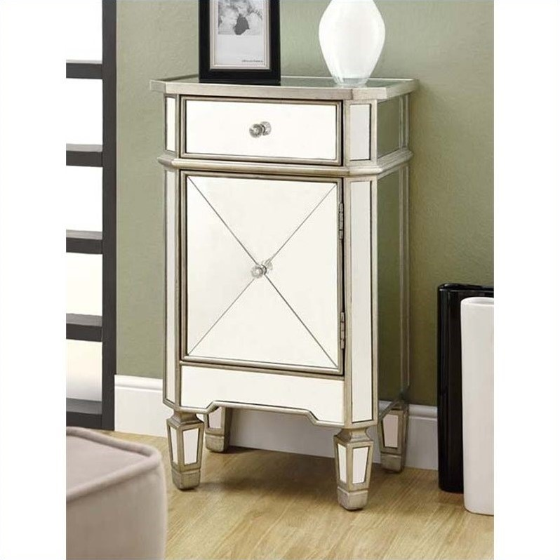 "Monarch Accent Chest 29""H / Brushed Silver With Mirror"