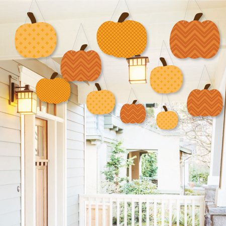 (Hanging Pumpkin Patch - Outdoor Fall & Thanksgiving Party Hanging Porch & Tree Yard Decorations - 10 Pieces)