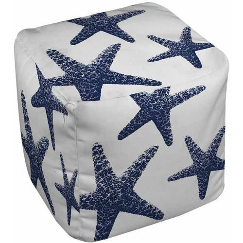 IDG Nautical Nonsense Blue White Starfish Pouf