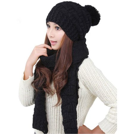 Womens Winter Warm Crochet Knitted Hat Ladies Thick Fleece Fur Pom Cap Scarf Set ()
