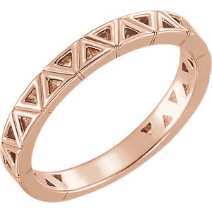 FB Jewels 14K Rose Gold Stackable Geometric Ring Size 7