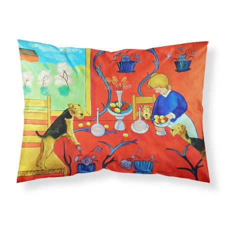 Airedale Terrier with lady Moisture wicking Fabric standard pillowcase