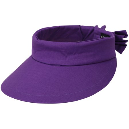 Women's Summer SPF 50+ UV Protection Sun Visor Hat Adjustable Velcro Cap,Purple