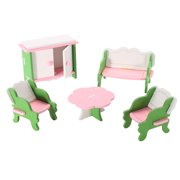 Dollhouse Miniature painted Wooden Furniture Kid Toys, Perfect Children's Toy with Kitchen, Living Room, Bathroom and Maternal and child room etc