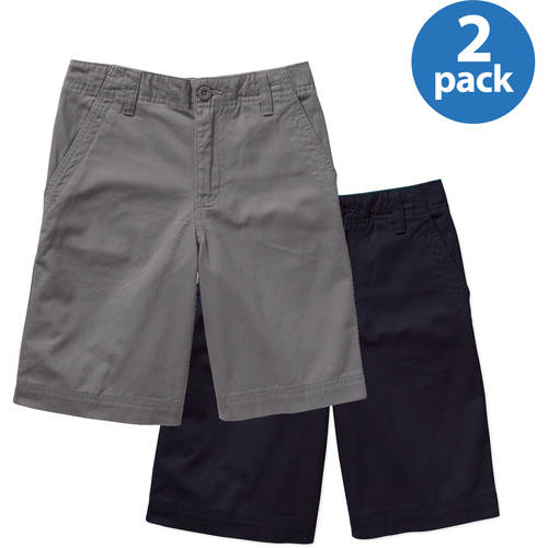 Faded Glory Boys' Flat Front Solid Shorts - 2 Pack Value Bundle