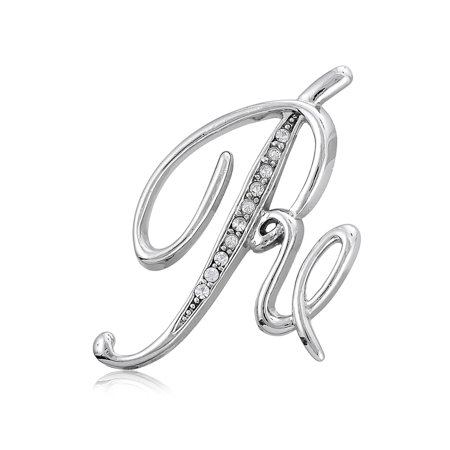 Initial Letter Brooch Pin - BERRICLE Rhodium Plated Base Metal Initial Letter 'R' Fashion Brooch Pin