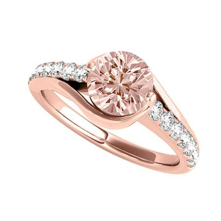 78a58f661509b Morganite CZ Semi Swirl Ring in 14K Rose Gold Vermeil | Walmart Canada