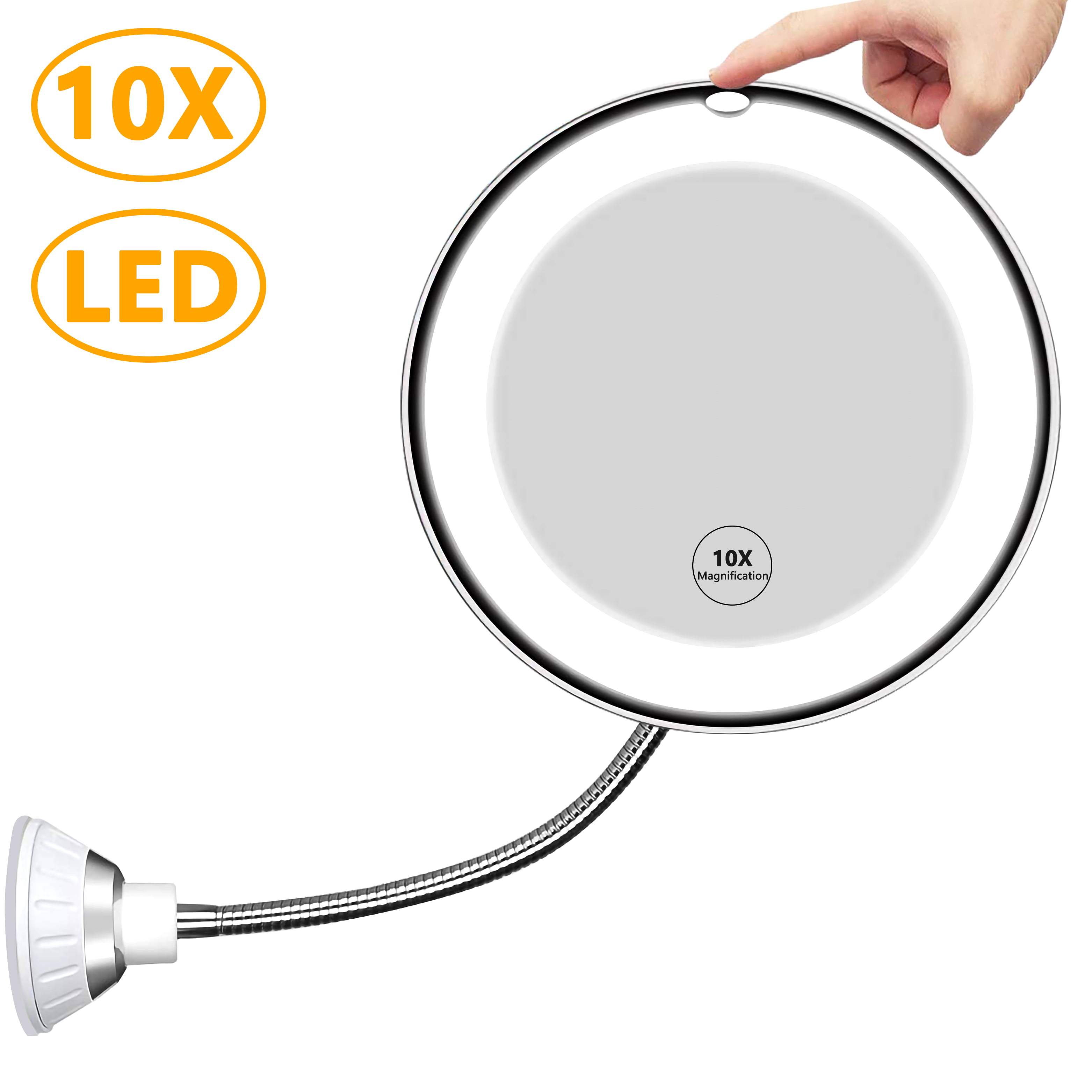Makeup Mirror, 20X Magnifying Vanity Mirror With Lights, 20 Degree  Rotation With Adjustable Gooseneck, Bathroom Flexible Mirror With Suction  Cup, ...