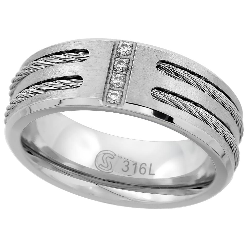 Titanium 8mm Comfort Fit Wedding Band Ring Star of David Pattern Sizes 6 to 14