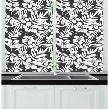 Tropical Curtains 2 Panels Set, Artisan Exotic Hibiscus Flowers Fern Leaves Pattern Nature Plant Picture Art, Window Drapes for Living Room Bedroom, 55W X 39L Inches, Grey and White, by Ambesonne
