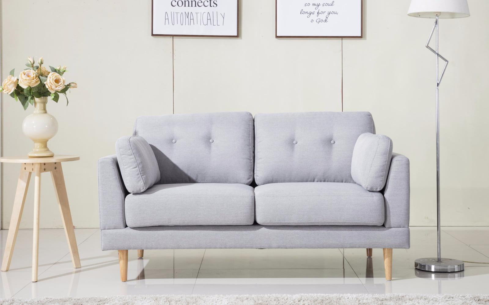 Mid Century Modern Ultra Plush Linen Fabric Loveseat by Overstock