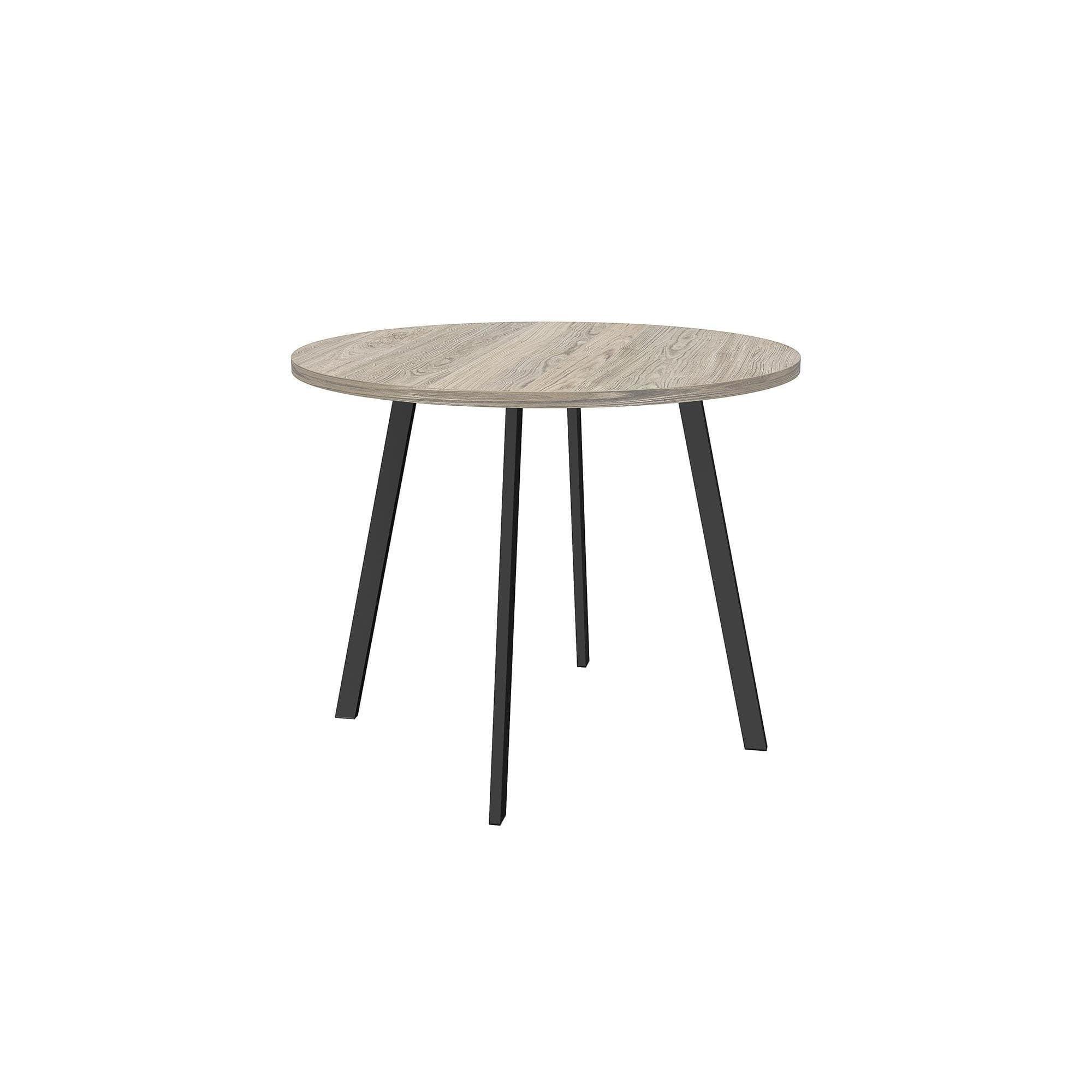 Novogratz Leo Round Dining Table, Black Metal w  Grey Wood by Overstock