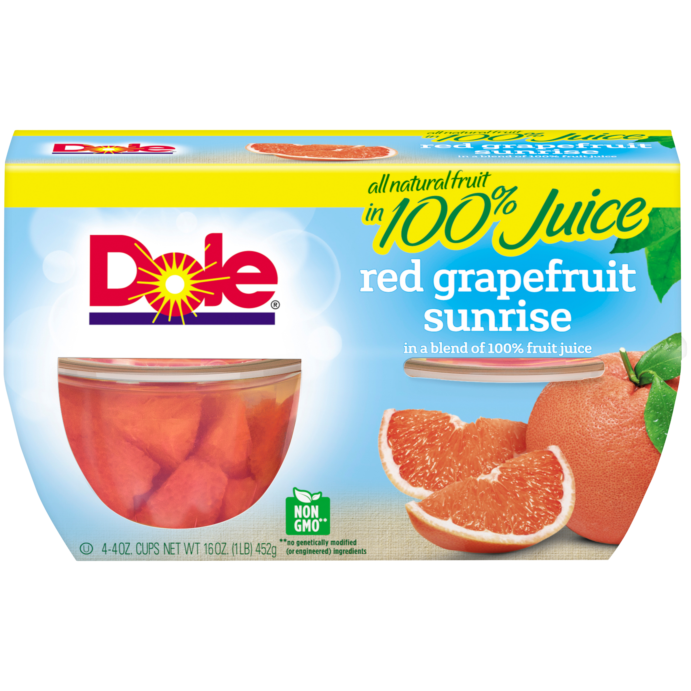 Dole Fruit Bowls, Red Grapefruit Sunrise in a Blend of 100% Fruit Juice, 4 Ounce (4 Cups)