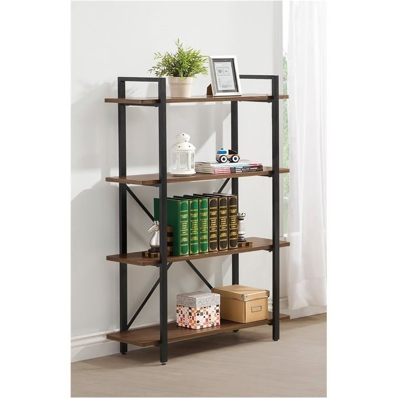 Bowery Hill 4 Shelf Industrial Style Metal Bookcase in Black