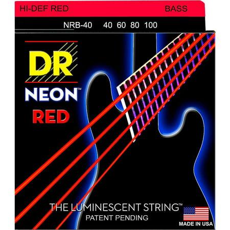 DR Strings Hi-Def NEON Red Coated Lite Bass Strings -