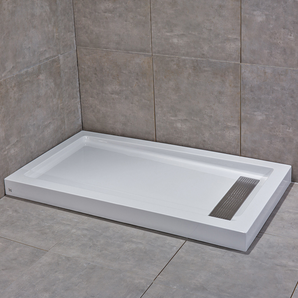 """Woodbridge Reversible Acrylic Shower Base with Recessed Trench Side Drain, including Stainless Steel Linear Drain Cover, White Color, 48"""" L x 32"""" W x 3.5"""" H ,SBR4832S"""