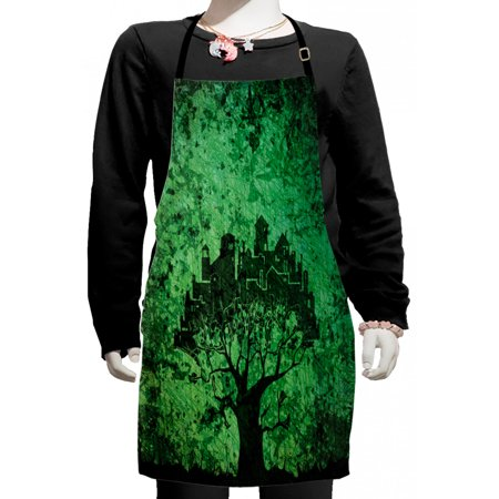 Abstract Kids Apron, City Composition Buildings Houses Town on Tree Branches Creative Monochromic Artwork, Boys Girls Apron Bib with Adjustable Ties for Cooking Baking Painting, Green, by Ambesonne